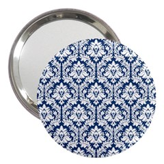 White On Blue Damask 3  Handbag Mirror by Zandiepants