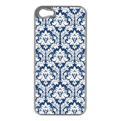 White On Blue Damask Apple Iphone 5 Case (silver) by Zandiepants