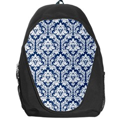 White On Blue Damask Backpack Bag by Zandiepants