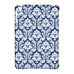 White On Blue Damask Apple Ipad Mini Hardshell Case (compatible With Smart Cover) by Zandiepants