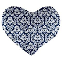 Navy Blue Damask Pattern Large 19  Premium Heart Shape Cushion by Zandiepants