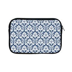 White On Blue Damask Apple Ipad Mini Zippered Sleeve by Zandiepants