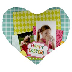 Easter By Easter   Large 19  Premium Heart Shape Cushion   07wy2ou40r4a   Www Artscow Com Front