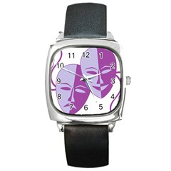 Comedy & Tragedy Of Chronic Pain Square Leather Watch by FunWithFibro