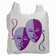 Comedy & Tragedy Of Chronic Pain White Reusable Bag (one Side) by FunWithFibro