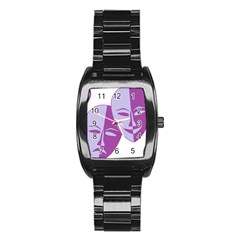 Comedy & Tragedy Of Chronic Pain Stainless Steel Barrel Watch by FunWithFibro