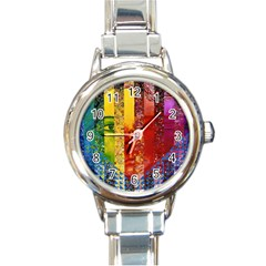 Conundrum I, Abstract Rainbow Woman Goddess  Round Italian Charm Watch by DianeClancy