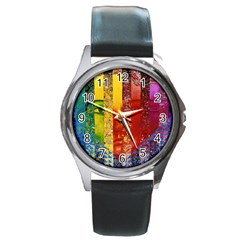 Conundrum I, Abstract Rainbow Woman Goddess  Round Leather Watch (silver Rim) by DianeClancy
