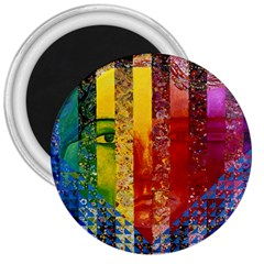 Conundrum I, Abstract Rainbow Woman Goddess  3  Button Magnet by DianeClancy