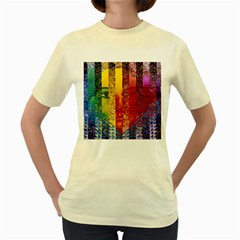 Conundrum I, Abstract Rainbow Woman Goddess  Women s T Shirt (yellow) by DianeClancy