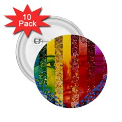 Conundrum I, Abstract Rainbow Woman Goddess  2.25  Button (10 pack)