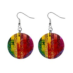 Conundrum I, Abstract Rainbow Woman Goddess  Mini Button Earrings by DianeClancy