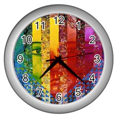 Conundrum I, Abstract Rainbow Woman Goddess  Wall Clock (silver) by DianeClancy