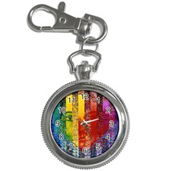 Conundrum I, Abstract Rainbow Woman Goddess  Key Chain Watch by DianeClancy