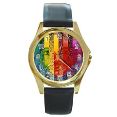 Conundrum I, Abstract Rainbow Woman Goddess  Round Leather Watch (gold Rim)  by DianeClancy
