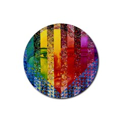 Conundrum I, Abstract Rainbow Woman Goddess  Drink Coaster (round) by DianeClancy