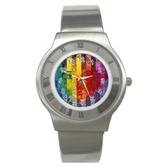 Conundrum I, Abstract Rainbow Woman Goddess  Stainless Steel Watch (slim) by DianeClancy