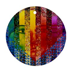 Conundrum I, Abstract Rainbow Woman Goddess  Round Ornament (two Sides) by DianeClancy