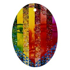 Conundrum I, Abstract Rainbow Woman Goddess  Oval Ornament (two Sides) by DianeClancy