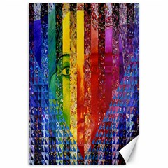 Conundrum I, Abstract Rainbow Woman Goddess  Canvas 12  X 18  (unframed) by DianeClancy