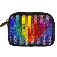 Conundrum I, Abstract Rainbow Woman Goddess  Digital Camera Leather Case by DianeClancy