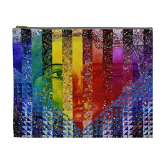 Conundrum I, Abstract Rainbow Woman Goddess  Cosmetic Bag (xl) by DianeClancy