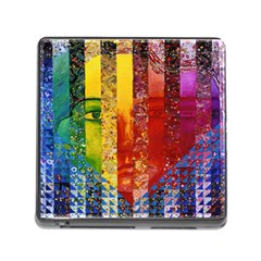 Conundrum I, Abstract Rainbow Woman Goddess  Memory Card Reader With Storage (square) by DianeClancy