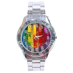 Conundrum I, Abstract Rainbow Woman Goddess  Stainless Steel Watch by DianeClancy