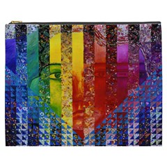 Conundrum I, Abstract Rainbow Woman Goddess  Cosmetic Bag (xxxl) by DianeClancy