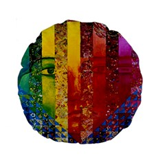 Conundrum I, Abstract Rainbow Woman Goddess  15  Premium Round Cushion  by DianeClancy