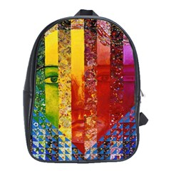 Conundrum I, Abstract Rainbow Woman Goddess  School Bag (xl) by DianeClancy