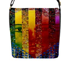 Conundrum I, Abstract Rainbow Woman Goddess  Flap Closure Messenger Bag (large) by DianeClancy