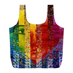 Conundrum I, Abstract Rainbow Woman Goddess  Reusable Bag (l) by DianeClancy