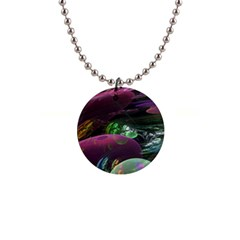 Creation Of The Rainbow Galaxy, Abstract Button Necklace by DianeClancy