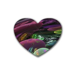 Creation Of The Rainbow Galaxy, Abstract Drink Coasters (heart) by DianeClancy