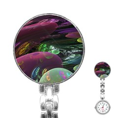 Creation Of The Rainbow Galaxy, Abstract Stainless Steel Nurses Watch by DianeClancy