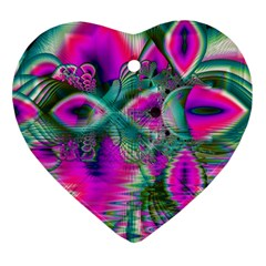 Crystal Flower Garden, Abstract Teal Violet Heart Ornament