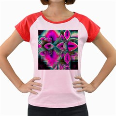 Crystal Flower Garden, Abstract Teal Violet Women s Cap Sleeve T Shirt (colored) by DianeClancy