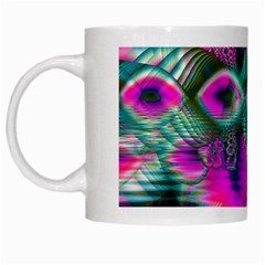 Crystal Flower Garden, Abstract Teal Violet White Coffee Mug by DianeClancy
