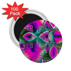 Crystal Flower Garden, Abstract Teal Violet 2 25  Button Magnet (100 Pack) by DianeClancy