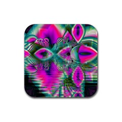 Crystal Flower Garden, Abstract Teal Violet Drink Coasters 4 Pack (square) by DianeClancy
