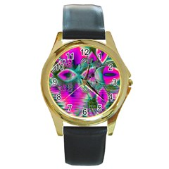 Crystal Flower Garden, Abstract Teal Violet Round Leather Watch (gold Rim)  by DianeClancy