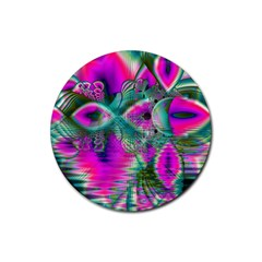 Crystal Flower Garden, Abstract Teal Violet Drink Coaster (round) by DianeClancy