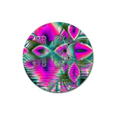 Crystal Flower Garden, Abstract Teal Violet Magnet 3  (round) by DianeClancy
