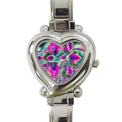 Crystal Flower Garden, Abstract Teal Violet Heart Italian Charm Watch  by DianeClancy