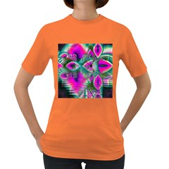 Crystal Flower Garden, Abstract Teal Violet Women s T Shirt (colored) by DianeClancy