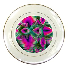 Crystal Flower Garden, Abstract Teal Violet Porcelain Display Plate by DianeClancy