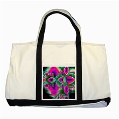 Crystal Flower Garden, Abstract Teal Violet Two Toned Tote Bag by DianeClancy