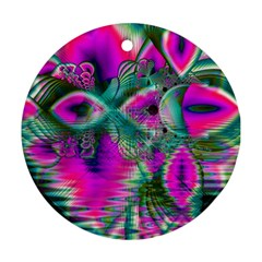 Crystal Flower Garden, Abstract Teal Violet Round Ornament (two Sides) by DianeClancy