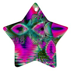 Crystal Flower Garden, Abstract Teal Violet Star Ornament (two Sides) by DianeClancy